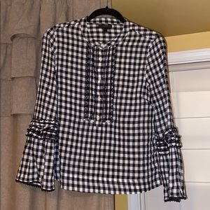 J crew women's gingham blouse with ruffles